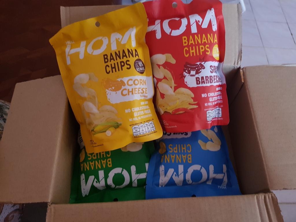 Hom Banana Chips กล้วยหอมทองแผ่นกรอบอร่อย รีวิว