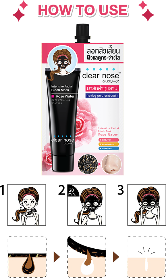 Clear Nose Intensive Facial Black Mask Rose Water